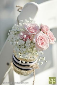 Touch the aisle at your #wedding with soft pink roses and delicate babies breath