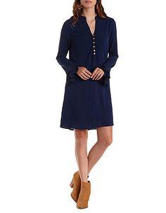 Bell Sleeve Shift Shirt Dress: Charlotte Russe