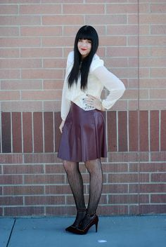 Wearing a neutral top with maroons for a casual/dressy winter outfit. Outfit from the red closet diary blog.