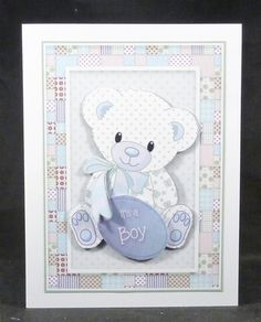 Patchwork Teddy Baby Boy Card Topper -Turquoise by Michelle Chivers