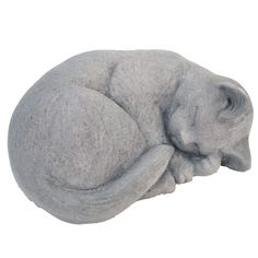 Cast Stone Small Curled Cat Garden Statue Antique Gray - Manufactured in long lasting, high quality cast stone. Made of frost proof stone to ensure years of durability, even in the harshest of climates. Hand made in the USA. Outdoor Statues, Outdoor Cats, Small Garden Statues, Outdoor Decor, Cat Memorial Stones, Statue Antique, Small Curls, Clay Cats, Cat Statue