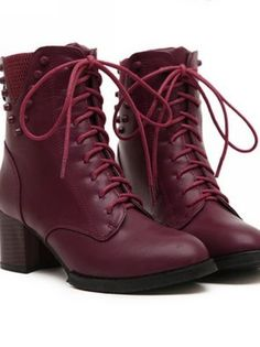 Studded Lace Up Boots in Wine Red and Black