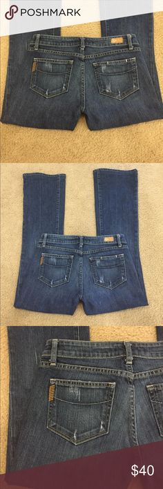 """🍇Paige Laurel Canyon stretchy dark flare 27 short 🍇Paige Laurel Canyon stretchy dark flare sz 27-short. These are lovely factory distressed jeans with lots of stretch. Preloved in excellent condition. Waist is 15"""" lying flat. Rise is 7.5"""". Inseam is 30"""". Outseam is 38"""". Flare is 9.5"""". Professional hem. Paige Jeans Jeans Flare & Wide Leg"""