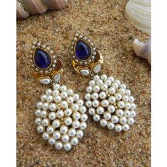 Royal Blue Pearl Danglers With Antique Polish T16 - Online Shopping for Earrings by Tiara