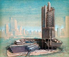 An aerial perspective rendering for an early draft of The Concourse, on Beach Road in Singapore. Graphite and color pencil on sepia print, created between 1979 and 1981 by architect Paul Rudolph. From the Library of Congress Paul Rudolph Archive. Modern Architecture Design, Architecture Office, Architecture Drawings, Concept Architecture, Futuristic Architecture, Amazing Architecture, Landscape Architecture, Architecture Illustrations, Hospital Architecture