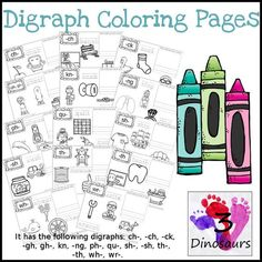 Digraph Coloring Pages have the folowing digraphs: ch-, -ch, -ck, -gh, gh-, kn, -ng, ph-, qu-, sh-, -sh, th-, -th, wh-, wr- $ - 3Dinosaurs.com:
