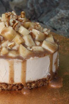 Raw Caramel Apple Cheesecake! Vegan, Raw, Recipe. Sugar dairy and gluten free! #Sweetly Raw http://papasteves.com
