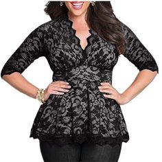 Taiduosheng Plus size M5XL Sexy women High waist Vneck Lace Tops Blouses XL Black *** To view further for this item, visit the image link.