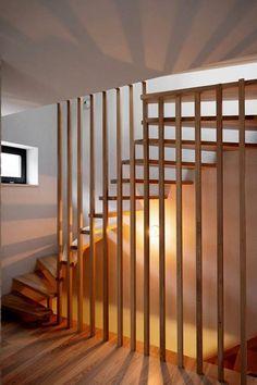 "The ""House in Gumieńce"" was completed recently by Loft Kolasiński. The house is located in Gumieńce neighborhood, Szczecin (Poland). Home Design, Loft Interior Design, Interior Stairs, Design Studio, Painted Stairs, Wood Stairs, House Stairs, Stair Shelves, Loft Studio"