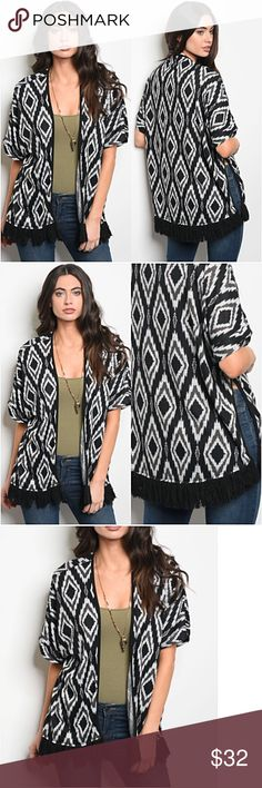 """Work Or Play Boho Chic Fringe Cozy Cardi SML Work or play versatile boho chic relaxed fit cardigan with fringe trim hem.  Slit sides for more movement. Black, gray & ivory soft lightweight 95% polyester- 5% spandex  Small (Will Fit Med) Bust 40"""" Length 28.5"""" Medium (Will Fit Lg) Bust 41"""" Length 29"""" Large (Will Fit XL) Bust 42"""" Length 29.5"""" oversized slouchy cozy  fuzzy Sweaters Cardigans"""
