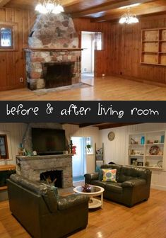 Before and after living room remodel., Diy And Crafts, Before and after living room remodel. Painted wood paneling, wood floors and a white washed stone fireplace. Wood Paneling Makeover, Painting Wood Paneling, Wood Paneling Remodel, Painted Wall Paneling, Wood Paneling Walls, White Washed Wood Paneling, Basement Painting, Paneling Ideas, Fireplace Remodel