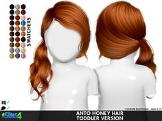 "coupurelectrique: "" ANTO HONEY HAIR TODDLER VERSION > CHARACTERISTICS: - ADULT TO TODDLER - Category: Hair - Only: Girl - For Sims 4 Adult and Original Mesh [X] - All LODS - Custom Thumbnail - Age:..."