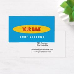 #teacher - #Custom surf instructor business card template