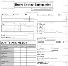 Buyer Client Form - Tools for Real Estate Agents