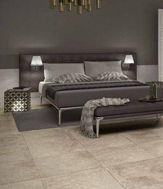 Weer eens wat anders: vloertegels in de slaapkamer. Ideaal in combinatie met vloerverwarming!