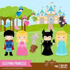 SLEEPING PRINCESS Digital Clipart   Princess Clipart by grafos, $5.00