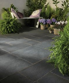 With its dramatic shades and distinctive natural veining, Bradstone's Natural Limestone Paving brings a smooth and sophisticated feel to any contemporary garden design. Slate Paving, Concrete Paving, Paving Stones, Bradstone Paving, Paving Stone Patio, Limestone Patio, Outdoor Paving, Garden Paving, Small Gardens
