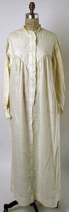 Nightgown Date: ca. 1856 Culture: American or European Medium: cotton Accession Number: C.I.41.125.24 The Metropolitan Museum of Art