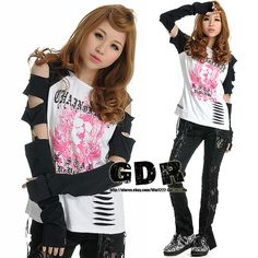 PUNK VISUAL GOTH KEI BLACK +REMOVE ARM SHIRT TOP M-L