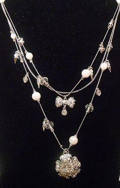 "Betsey Johnson NWT ""Pretty Punk Pearl"" Flower Bow Spike Illusion Necklace #BetseyJohnson #StrandStringIllusion"