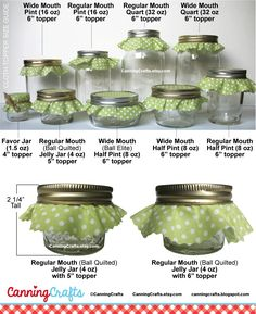 Colorful Adhesive Canning Jar Labels: Canning Jar Label and Cloth Topper Size Chart