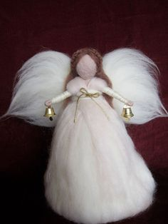 Top Tree Angel Needle felted Christmas tree decor by FeltandGrain, $62.00