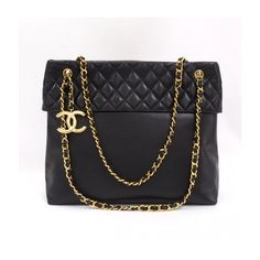Chanel Black Quilted Leather Tote Bag Gold Chain CC Cb044 ❤ liked on Polyvore featuring bags, handbags, tote bags, purses, chanel, accessories, quilted leather tote, chain purse, handbags purses and gold hand bag