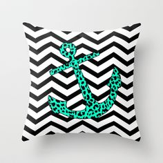 Mint Leopard Chevron Anchor Throw Pillow