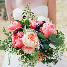 Bride's Bouquet: Coral Peonies, Peach English Garden Roses, Peach Hypericum Berries, Burgundy Scabiosa, Green Silver Dollar Eucalyptus, Green Maiden Hair Fern, Green Foliage