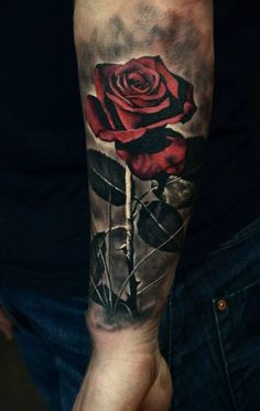 Ideas for tattoo rose men red Rose Tattoos For Men, Trendy Tattoos, Tattoos For Guys, Rose Tattoo Man, Red Rose Tattoos, Cover Up Tattoos, Body Art Tattoos, New Tattoos, Future Tattoos