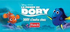 Du 14 mai au 30 juin, les enfants de 4-10 ans pourront profiter de Menu Petits Fluncheurs dans tous les restaurants Flunch de France, accompagné de prime Dory exclusives. A cette occasion, Bandai distribuera un leaflet porteur d'une offre promotionnelle exclusif. Pour en savoir plus : www.bandai.fr #Dory #Bandai #Flunch #lemondededory