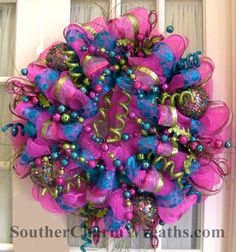 Huge deco mesh wreath great for Christmas or Birthday by Julie Siomacco and learndecomeshwreaths.com