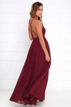 28bde9c5db8 Women s Elegant Wine Burgundy Chiffon Criss Cross Open Back Maxi Dress  Perfect for. SKU