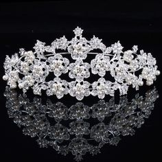 Gorgeous Alloy with Pearls and Rhinestions Flowers Wedding Tiara
