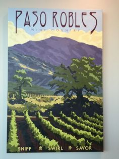 Paso Robles Wine Country - limited edition print by Steve Thomas Vintage California, California Travel, California Art, Paso Robles Wineries, Steve Thomas, Vintage Art Prints, Vintage Travel Posters, Retro, Illustration Art