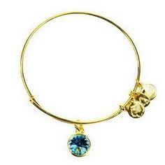 Alex and Ani March Birthstone Charm Bangle Bracelet - Shiny Gold Finish