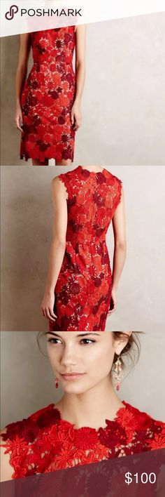 ISO  ANTHRO HD IN PARIS red lace dress Please help me find this. Share/ tag  Size 8/10  in red. I have the green. Need for a wedding.  I'm a 6 but it runs a little small Anthropologie Dresses Midi