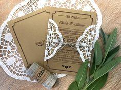 "Einladung  ""Vintage Craft"" zur Hochzeit Invitation Text, Invitations, Print Release, Paper Lace, Custom Buttons, Typographic Design, Favorite Color, Initials, Prints"