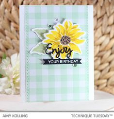 ABSOLUTELY gorgeous card created by Amy Kolling with the Enjoy Layered Flower stamps and dies.