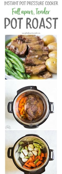Now you can cook a classic pressure cooker pot roast in your electric pressure cooker or instant pot in less than an hour! This easy recipe makes a really easy, healthy weeknight meal! It's gluten free, paleo and whole 30, low carb, and healthy! #instantpot #instapot #pressurecooker #potroast #paleo #whole30 #pressurecooking #glutenfreepressurecooker #paleopressurecooker #paleorecipe #glutenfree #glutenfreerecipe #healthyrecipe