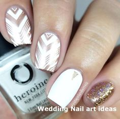 35 SIMPLE IDEAS FOR WEDDING NAILS DESIGN 1  #nails #wedding Natural Wedding Nails, Simple Wedding Nails, Wedding Nails Design, Nail Art Designs, White Nail Designs, Acrylic Nail Designs, Mehndi Designs, Rock Nails, White Glitter Nails