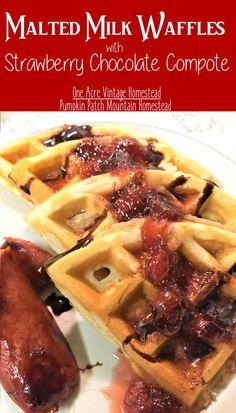 Malted Milk Waffles ⋆ One Acre Vintage & Pumpkin Patch Mtn. Breakfast Waffle Recipes, Waffle Maker Recipes, Waffle Toppings, Breakfast Waffles, Pancakes And Waffles, Brunch Recipes, Fluffy Waffles, Brunch Ideas, Canned Strawberries