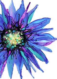 Daisy Blue Alcohol Ink Painting Blue Violet