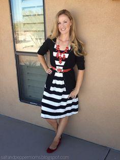 Knee length dress, cardigan and belt