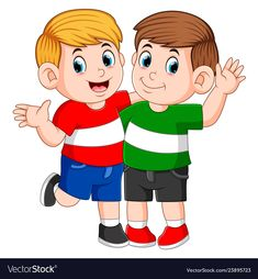 Best children friends standing with hand on shoulder stock vector - 117211430 Pic Saint Loup, Social Stories Autism, Cartoon N, School Frame, School Clipart, Classroom Rules, Bff Pictures, Camping Crafts, Preschool Worksheets