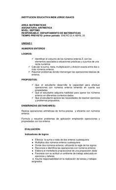 INSTITUCION EDUCATIVA INEM JORGE ISAACS AREA: MATEMATICAS ASIGNATURA: ARITMETICA NIVEL: SEPTIMO RESPONSABLE: DEPARTAMENTO ...