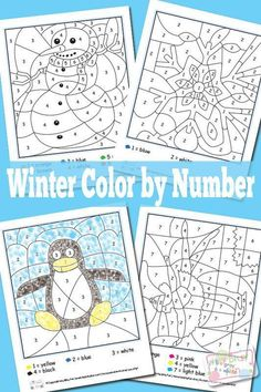 Festive Winter Color by Numbers Worksheets While it may be freezing outside your kids can enjoy these Winter color by numbers indoors, you know where it's super warm! I love winter… Well I love… Winter Kids, Winter Art, Winter Colors, Thema Winter Im Kindergarten, Kindergarten Activities, Learning Activities, Winter Thema, Winter Activities For Kids, Thanksgiving Activities