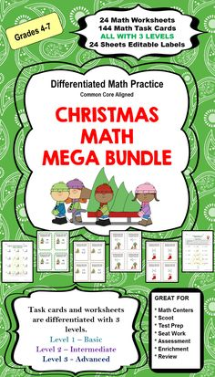 This Christmas Math Mega Bundle features 24 Differentiated Christmas Math Worksheets, 144 Differentiated Christmas Task Cards, and 24 Pages of Editable Christmas Labels. Both task cards and worksheets are differentiated with 3 levels.   Use the 24 pages of Editable Christmas Labels to make your own Task Cards, Word Walls, or Holiday Letters.  Click to see more information on my Teachers Pay Teachers product page.