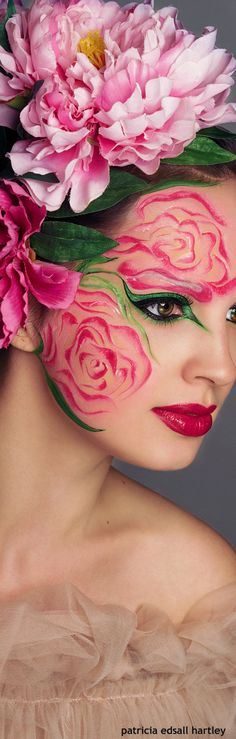 Rose flower costume with makeup and some silk flowers. Gorgeous!