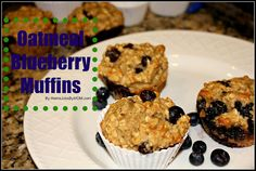 Healthy Oatmeal Blueberry Muffins made with applesauce and yogurt. A great breakfast for the kids!
